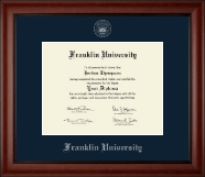 Franklin University Diploma Frame - Silver Embossed Diploma Frame in Cambridge