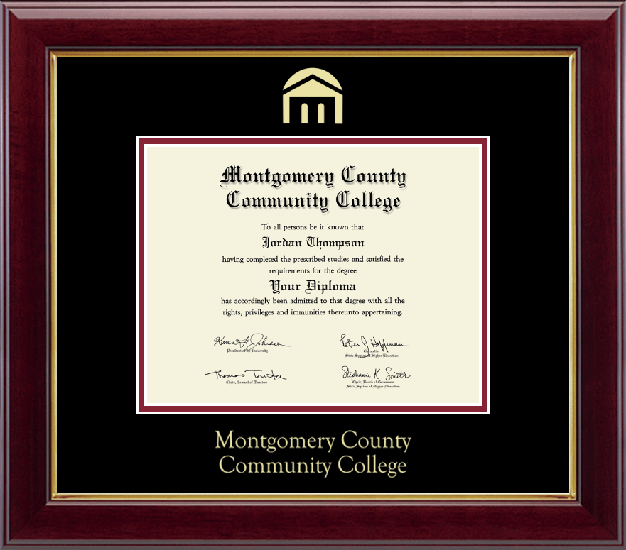 montgomery county community college gold embossed diploma frame in gallery item 236148