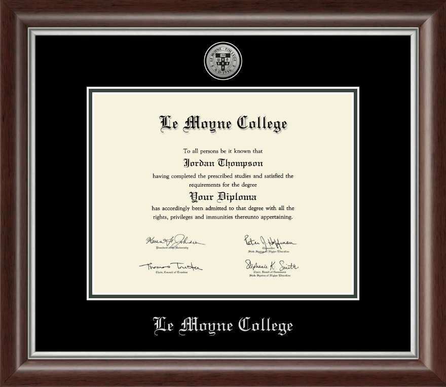 Le Moyne College Silver Engraved Medallion Diploma Frame