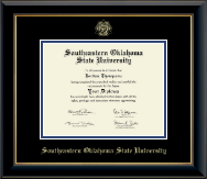 Southeastern Oklahoma State University Diploma Frame - Gold Embossed Diploma Frame in Onyx Gold