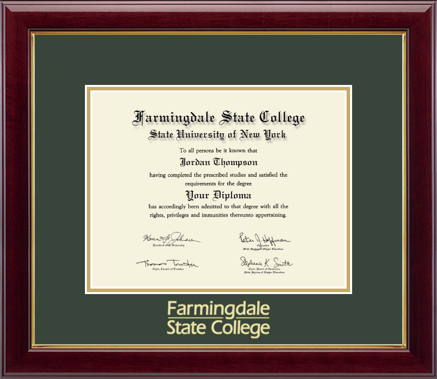 state university of new york farmingdale state college gold embossed diploma frame in gallery item 236344
