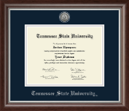 Tennessee State University Diploma Frame - Silver Engraved Medallion Diploma Frame in Devonshire