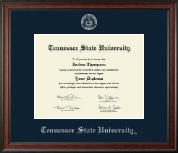 Tennessee State University Diploma Frame - Silver Embossed Diploma Frame in Studio