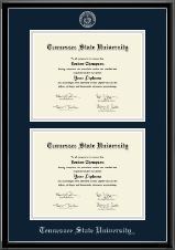 Tennessee State University Diploma Frame - Double Document Diploma Frame in Onexa Silver
