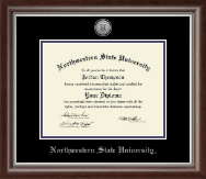 Northwestern State University Diploma Frame - Silver Engraved Medallion Diploma Frame in Devonshire