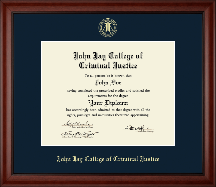 John Jay College of Criminal Justice Gold Embossed Diploma Frame in ...