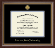 Indiana State University Diploma Frame - Gold Engraved Medallion Diploma Frame in Hampshire