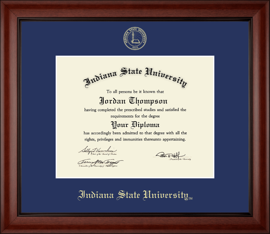 Indiana State University Gold Embossed Diploma Frame In