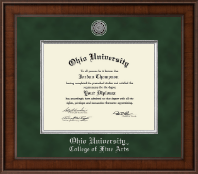 Ohio University Diploma Frame - Presidential Silver Engraved Diploma Frame in Madison