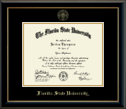 Florida State University Diploma Frame - Gold Embossed Diploma Frame in Onyx Gold