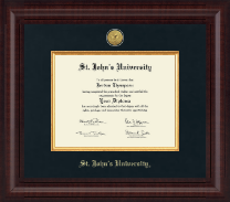 St. John's University, New York Diploma Frame - Presidential Gold Engraved Diploma Frame in Premier