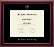 St. John's University, New York Diploma Frame - Gold Embossed Diploma Frame in Gallery