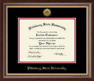 Pittsburg State University Diploma Frame - Gold Engraved Medallion Diploma Frame in Hampshire