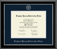 Brigham Young University Idaho Diploma Frame - Silver Embossed Diploma Frame in Onyx Silver