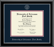 University of Arkansas - Fort Smith Diploma Frame - Silver Embossed Diploma Frame in Onyx Silver