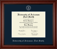 University of Arkansas - Fort Smith Diploma Frame - Silver Embossed Diploma Frame in Cambridge