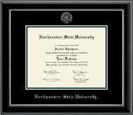 Northeastern State University Tahlequah Diploma Frame - Silver Embossed Diploma Frame in Onyx Silver