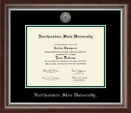 Northeastern State University Tahlequah Diploma Frame - Silver Engraved Medallion Diploma Frame in Devonshire