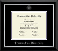 Truman State University Diploma Frame - Silver Embossed Diploma Frame in Onyx Silver