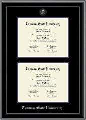 Truman State University Diploma Frame - Double Document Diploma Frame in Onyx Silver