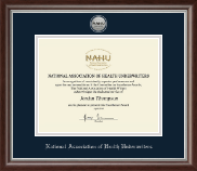 National Association of Health Underwriters Certificate Frame - Silver Engraved Medallion Certificate Frame in Devonshire