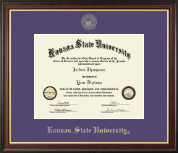 Kansas State University Diploma Frame - Gold Embossed Diploma Frame in Studio Gold