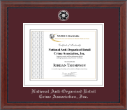 National Anti-Organized Retail Crime Association, Inc. Certificate Frame - Silver Engraved Medallion Certificate Frame in Signature