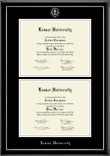 Lamar University Diploma Frame - Double Document Diploma Frame in Onyx Silver