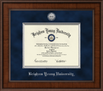 Brigham Young University Utah Diploma Frame - Presidential Silver Engraved Diploma Frame in Madison
