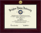 Brigham Young University Utah Diploma Frame - Century Gold Engraved Diploma Frame in Cordova