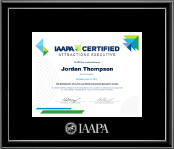 International Association of Amusement Parks and Attractions Certificate Frame - Silver Embossed Certificate Frame in Onexa Silver