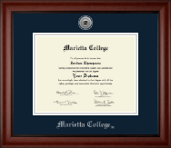 Marietta College Diploma Frame - Silver Engraved Medallion Diploma Frame in Cambridge