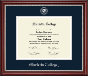 Marietta College Diploma Frame - Silver Embossed Diploma Frame in Kensington Silver