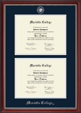 Marietta College Diploma Frame - Double Document Diploma Frame in Kensington Silver