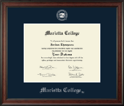 Marietta College Diploma Frame - Silver Embossed Diploma Frame in Studio