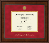 St. Gregory's University Diploma Frame - Presidential Gold Engraved Diploma Frame in Madison
