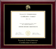 Research Administrators Certification Council Certificate Frame - Gold Embossed Certificate Frame in Gallery