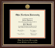 Ohio Northern University Diploma Frame - Gold Engraved Medallion Diploma Frame in Hampshire