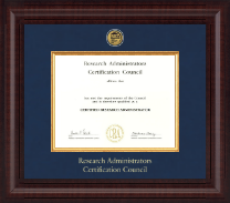Research Administrators Certification Council Certificate Frame - Presidential Gold Engraved Certificate Frame in Premier