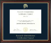 Research Administrators Certification Council Certificate Frame - Gold Embossed Certificate Frame in Studio Gold