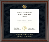 Research Administrators Certification Council Certificate Frame - Gold Engraved Medallion Certificate Frame in Chateau