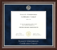 Research Administrators Certification Council Certificate Frame - Silver Engraved Medallion Certificate Frame in Devonshire