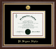 Pi Sigma Alpha Honor Society Certificate Frame - Gold Engraved Medallion Certificate Frame in Hampshire