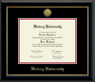 Victory University Diploma Frame - Gold Engraved Medallion Diploma Frame in Onyx Gold
