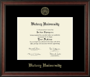 Victory University Diploma Frame - Gold Embossed Diploma Frame in Studio