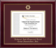 National Anti-Organized Retail Crime Association, Inc. Certificate Frame - Gold Embossed Certificate Frame in Gallery