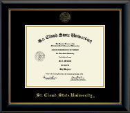 St. Cloud State University Diploma Frame - Gold Embossed Diploma Frame in Onyx Gold