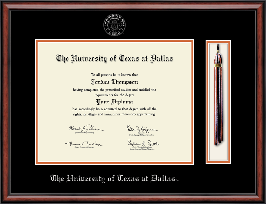 The University Of Texas At Dallas Tassel Edition Diploma Frame In With Interior Design Degree