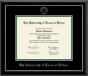 The University of Texas at Dallas Diploma Frame - Silver Embossed Diploma Frame in Onyx Silver