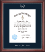 Omicron Delta Kappa Honor Society Certificate Frame - 8.5'x11' - Silver Embossed Certificate Frame in Kensington Silver